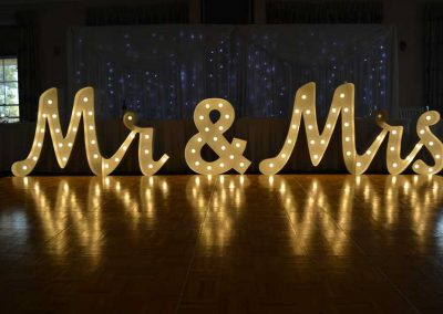 Mr and Mrs Cursive Range light up letters sign